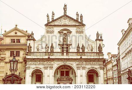 Saint Salvator church in Prague Czech republic. Architectural scene. Travel destination. Yellow photo filter.