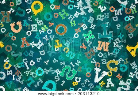 illustration of different colored letters on black background seamless pattern.