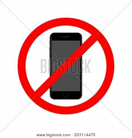 No phone allowed simple flat vector sign.
