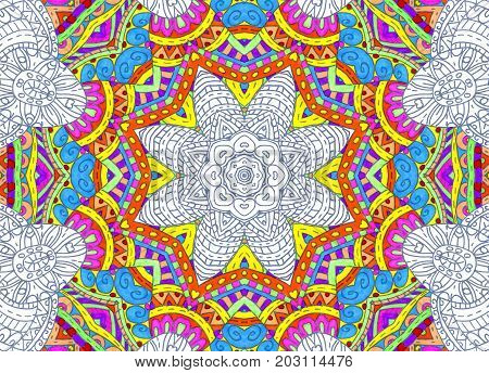 Illustration with abstract bright half-painted outline concentric pattern