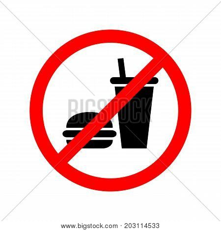 No food or drinks allowed flat vector sign.