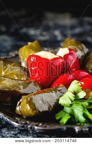 Stuffed Leaves Of Dolma Grapes, Rice And Meat With Sour Cream, C