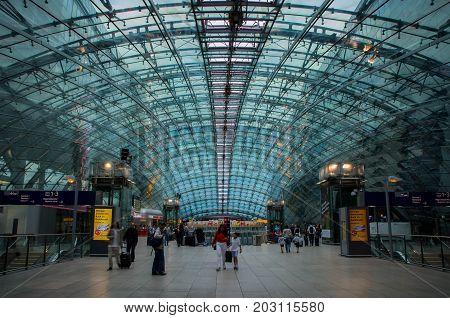 Frankfurt am Main, Germany - 29 July 2017 : Frankfurt airport long distance train station.