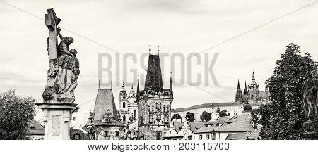 Historical scene of Prague Czech republic central Europe. Travel destination. Cultural heritage. Urban scene.