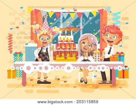 Stock vector illustration cartoon characters children, friends, boys, girls celebrate happy birthday, congratulating, giving gifts, huge festive cake with candles flat style on background of window