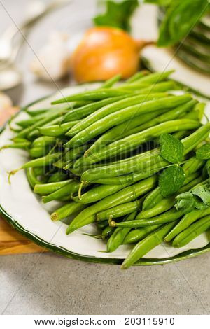 Fresh Green Snap Beans On The Plate Ready To Cook
