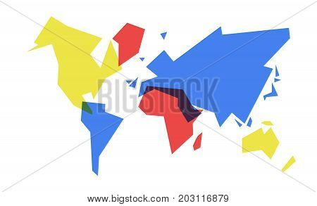 Colorful World Map Abstract Geometry Illustration