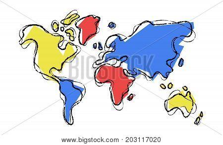 World Map Doodle Sketch Color Illustration Concept