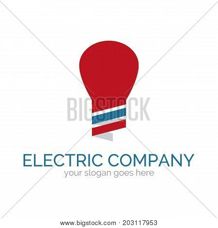 Vector logo template for electric company. Illustration of light bulb. Electro icon. Design element for logotype. EPS10.