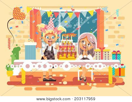 Stock vector illustration cartoon characters children, friends, two girls celebrate happy birthday, congratulating, giving gifts, huge festive cake with candles flat style on background of window