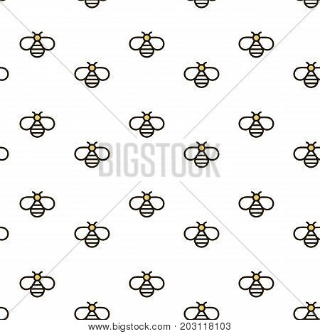 Vector seamless pattern with bees. Outline bee vector background. Can be used for print on clothes honey package banner wrapping paper. EPS10.
