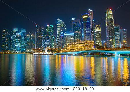 Singapore Downtown At Night Skyline