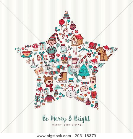 Christmas Hand Drawn Icon Star Holiday Card Design