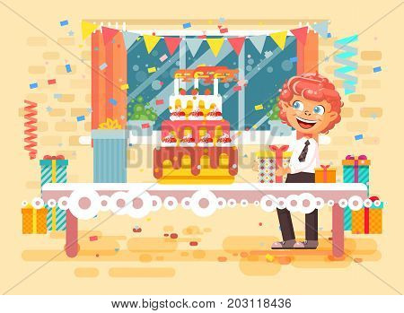 Stock vector illustration cartoon character child lonely redhead boy celebrate happy birthday, congratulating give gifts, huge festive cake with candles and confetti flat style on background of window