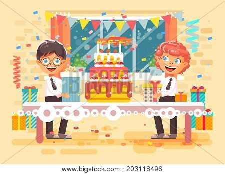 Stock vector illustration cartoon character children two friends boys celebrate happy birthday, congratulating give gifts, huge festive cake with candles and confetti flat style on background of window