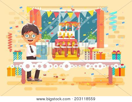 Stock vector illustration cartoon character child lonely brunette boy celebrate happy birthday, congratulating give gift, huge festive cake with candles and confetti flat style on background of window