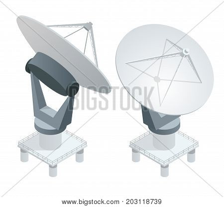 Isometric Satellite dish antennas on white. Wireless communication equipments. Flat vector illustration. Can be used for workflow layout, game, diagram, number options, web design and infographics.