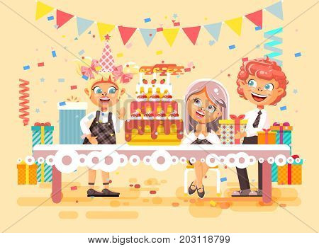 Stock vector illustration cartoon characters children, friends, boy and two girls celebrate happy birthday, congratulating, giving gifts, huge festive cake with candles flat style on beige background