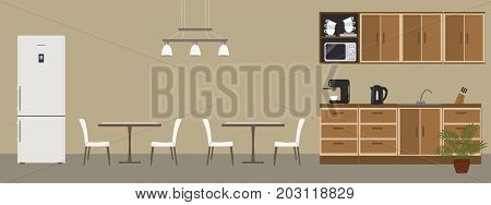 Dining room in the office. There are tables, white chairs, kitchen cabinets, a fridge, a microwave, a black kettle and a coffee machine in the picture. Vector illustration.