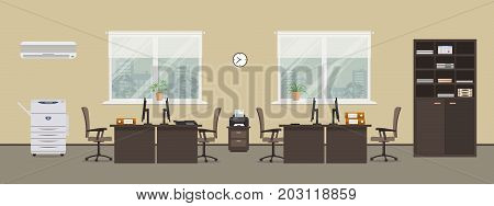 Office room in a beige color. There are tables, chairs, a printer, a copy machine, a cabinet for documents and other objects on a window background in the picture. Vector flat illustration.