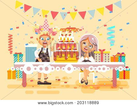 Stock vector illustration cartoon characters children, friends, two girls celebrate happy birthday, congratulating, giving gifts, huge festive cake with candles flat style on beige background