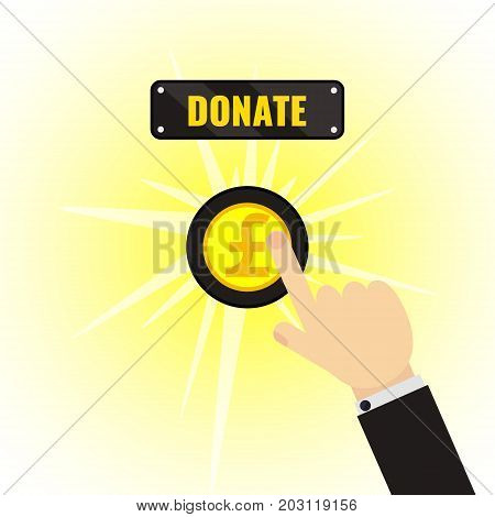 Pound donate button. Man making a donation. Giving money, fundraising business concept. Financial contribution to charity online. Touch, push or press symbol. Vector illustration.