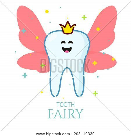 Smiling cartoon tooth fairy with wings on white background. Oral dental hygiene. Teeth whitening and restoration. Dental health symbol. Human body medical concept. Vector illustration.