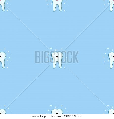 Seamless pattern with smiling cartoon tooth characters on blue background. Oral dental hygiene. Teeth whitening and restoration. Dental health symbol. Human body medical concept. Vector illustration.