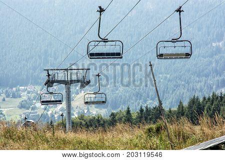 Cableway Donovaly Slovak republic. Tourism theme. Mountains scene.