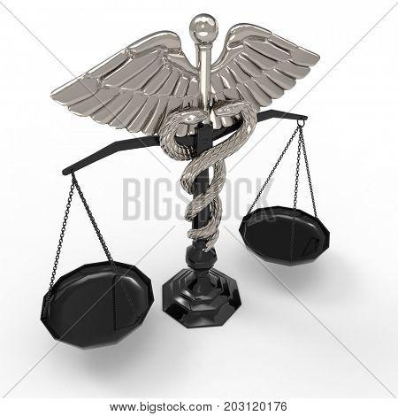 Conceptual idea of justice in medicine 3d rendering