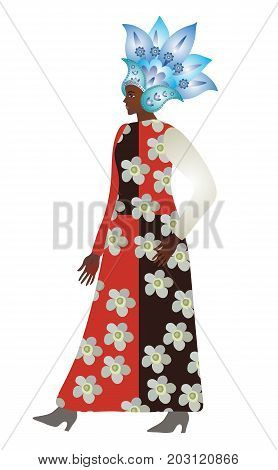 Abstact african girl model in blue metallic paisley helmet and dress with floral print. Vector design. Logo woman shop. Card banner poster.
