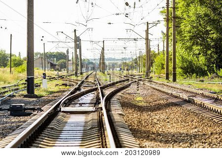 A large empty railroad fork. A lots of road junctions. Crossroads .