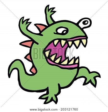 Danger cartoon mad germ. Vector illustration. Imaginary creature. Cute monster character.
