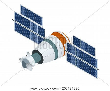 GPS satellite. Flat vector isometric illustration. Wireless satellite technology. World global net. used for workflow layout, game, diagram, number options, web design and infographics