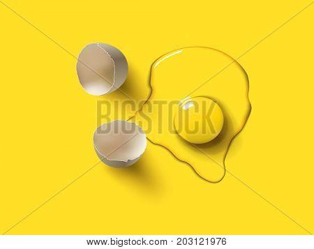 Surreal color cracked chicken egg. 3d illustration