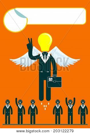 light bulb headed businessmen In the center of a group of people. Idea and leadership concept. Stock flat vector illustration.