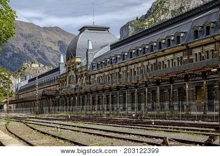 Canfranc Spain - August 30 2017: Abandoned railway station of Canfranc Huesca Spain
