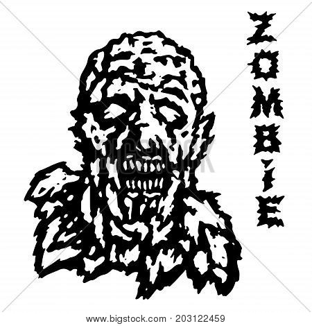 The head of the ghoul zombie. Vector illustration. Scary character face. The genre of horror.