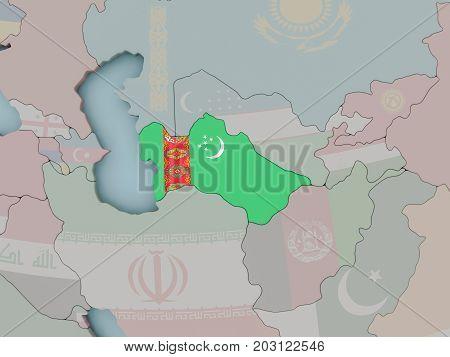 Turkmenistan On Political Globe With Flag