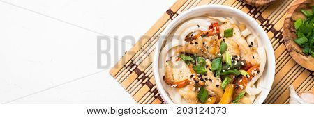 Udon stir-fry noodles with chicken meat vegetables and sesame in white bowl. Traditional asian food. Long banner format.