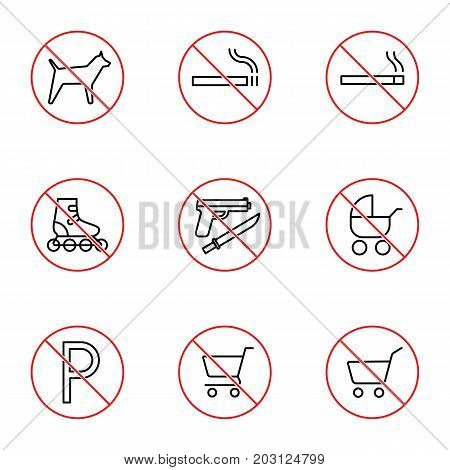 Shopping Mall Prohibition Signs Set On White Background