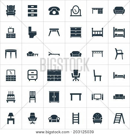Elements Chest Drawers, Bedside Socle, Display And Other Synonyms Design, Stairway And Mattress.  Vector Illustration Set Of Simple Furniture Icons.
