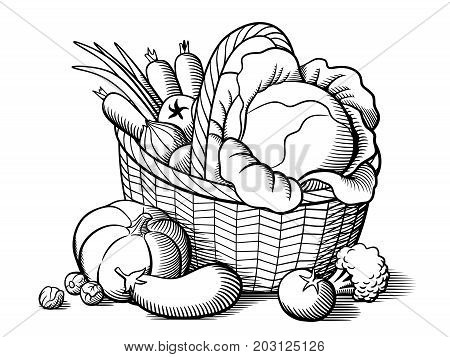 Basket with vegetables. Stylized black and white vector illustration. Cabbage pumpkin eggplant tomatoes onion carrots broccoli brussels sprouts