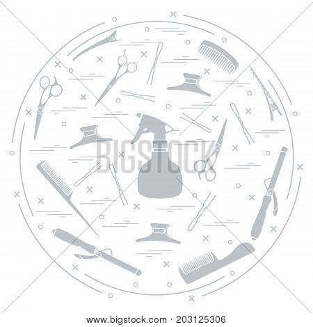 Vector illustration elements arranged in a circle: curling iron hairclip combs pins barrettes scissors sprayer. Design element for postcard banner flyer poster or print.
