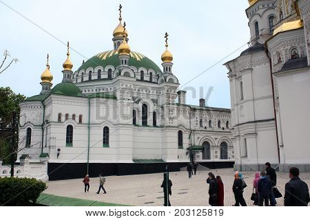 KIEV, UKRAINE - MAY 3, 2011: This is Refectory church of St. Anthony and Feodosiya of Pechersky of the Kiev-Pechersk Lavra.