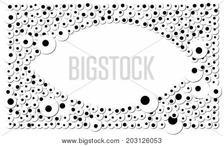 The outline of an eye is surrounded by lots of eyes. Isolated from background.
