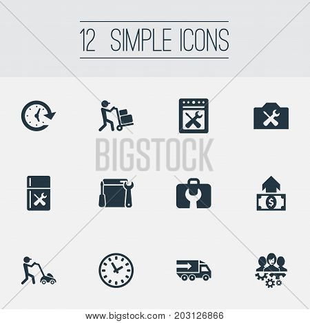 Elements Time, Period, Restoration And Other Synonyms Toolbox, Cycle And Screwdriver.  Vector Illustration Set Of Simple Service Icons.