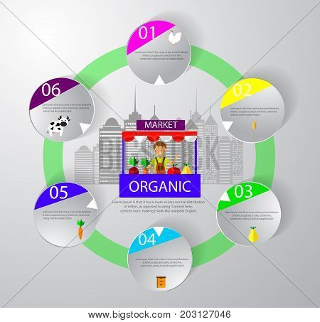 Farm market fruit shop infographic Modern flat style fresh vegetables on vector illustration. City gets fresh produce concept