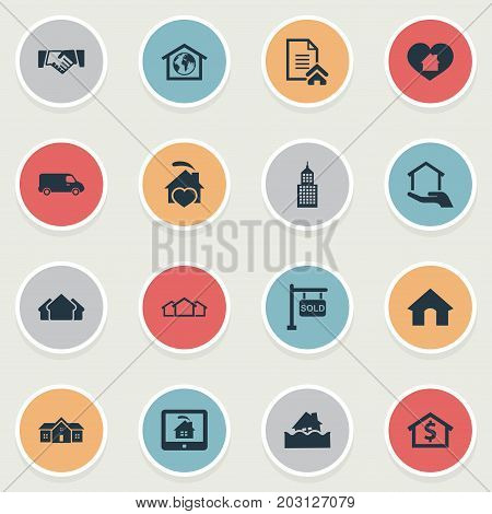 Elements Flood, Partnership, Planet And Other Synonyms Flood, Residential And Estate.  Vector Illustration Set Of Simple Real Icons.