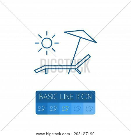Sunbed Vector Element Can Be Used For Sunbed, Chaise, Longue Design Concept.  Isolated Deck Chair Outline.